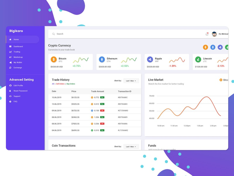 cryptocurrency admin page