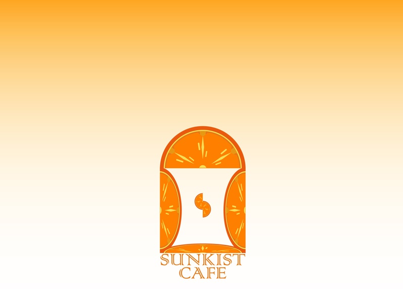 sunkist cafe 1 orange logo sunkist illustration illustrator flat vector typography logo icon flatdesign design branding