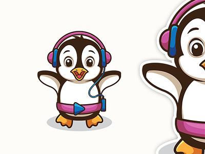 Penguin Play Music character cartoonmascot brandidentity cartoonlogo penguin illustration cartoon character animation mascot logo cartoon