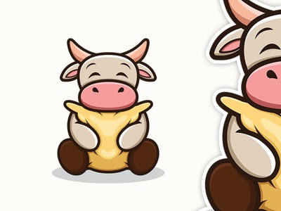 Cow With Pillow cow character design cartoonmascot cartoonlogo illustration cartoon character brandidentity mascot logo cartoon