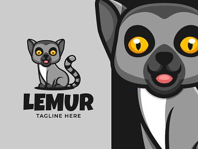 Lemur Cute Cartoon Logo cute animal lemur animal illustration character cartoonmascot cartoonlogo logo cartoon character mascot cartoon