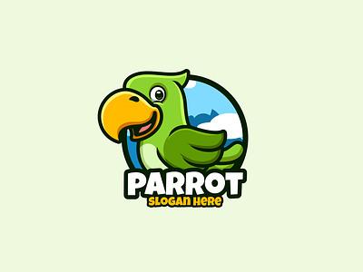 Green Parrot ui branding design cartoon character illustration character mascot logo cartoon animal bird parrot