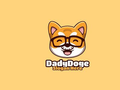 Daddy Doge coin shiba inu doge dog animal illustration character mascot logo cartoon