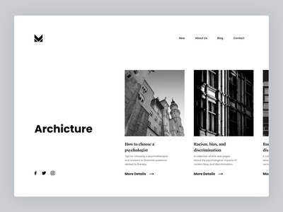 Minimalist Architecture - concept blog web ui web ui real estate website furniture design web interior website architecture landing page construction landing page miniml ui landing page design minimal web design webdesign architecture web concept. minimal web ui