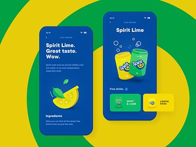 Spirit Lime – Event App Brand Screen app drink lime lemon party event illustration mobile