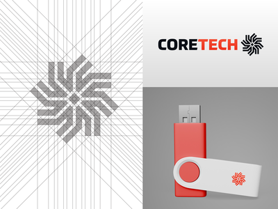 Coretech Logo Mark, Grid System and Mock-up
