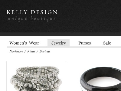 boutique jewelery store navigation e-commerce