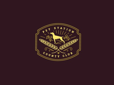 Pet Station County Club (Reject) illustration branding dags dogs badge