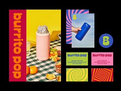 Burrito Pop bubble psychedelic blue spiral swirl burrito identity branding