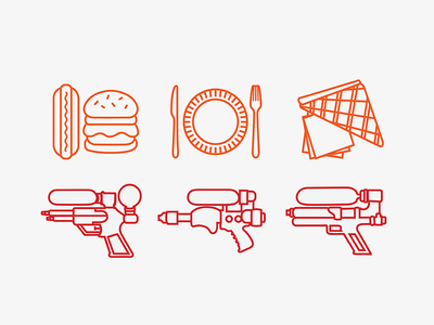 Picnic Icons icons pictograms icon illustration graphic design watergun line cute summer