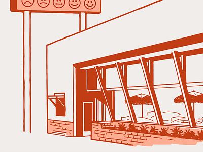 Diner illustration food and drink smiley smile restaurant fifties food retro diner