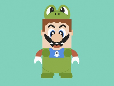 Lego Mario and his Frog Suit design procreate illustration super nintendo super mario bros super mario mario lego