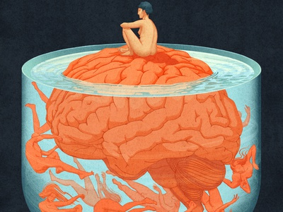 The Personification of Ruminative Thought photoshop illustrator weird anatomical brain mental health anxiety anatomy scientific scientific illustration graphic design illustration