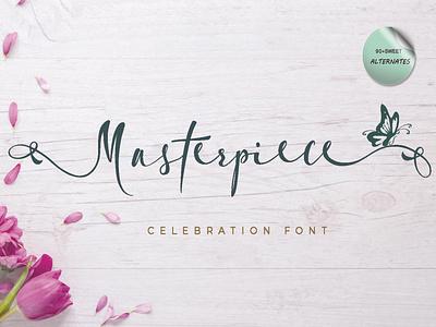 Masterpiece font beautiful sweet script handwritten font design animation branding handmade elegant font fontscript font