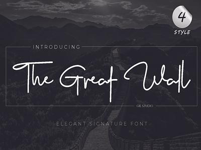The Great Wall Font signature font elegant font handwritten font script font font