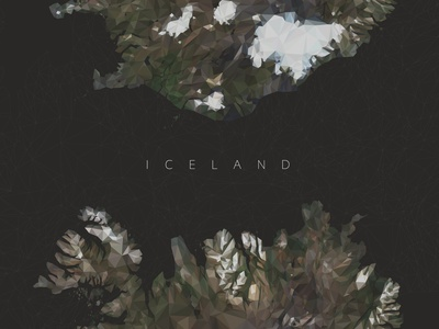 Low Poly Iceland Map poster design poster low poly art flat low poly vector commission illustration design