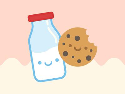 Happy Food Club: Milk and Cookies icon pastel cute cookies milk food digital arts illustration illustrator