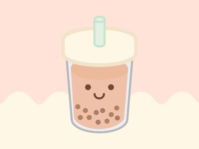 Happy Food Club: Milk Tea cute art pearls milk tea boba tea food pastel illustrator illustration