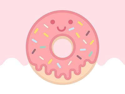 Happy Food Club: Strawberry Sprinkle strawberry sprinkles donut cute art pastel food illustrator icon illustration