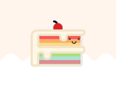Happy Food Club: Rainbow Cake cake rainbow cute art pastel food illustrator icon illustration