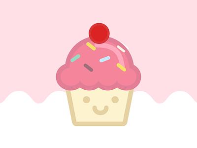 Happy Food Club: Mr. Cupcake cupcake cake cute art pastel food illustrator icon illustration
