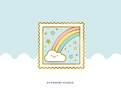 Rainbow Stamp Enamel Pin lapel pin enamel pin clouds rainbow cute art pastel illustrator icon illustration