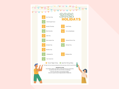 Public Holidays in the Philippines pastel layout illustration
