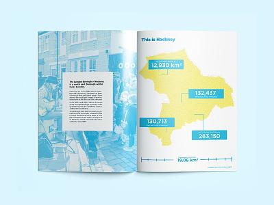 Dribbble Hackney photoshop infograph map illustration indesign layout typesetting magazine yellow blue london hackney