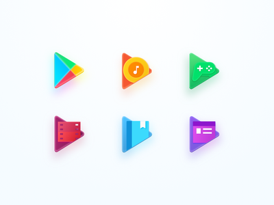 Google Play Icons news book movie game music googleplay google