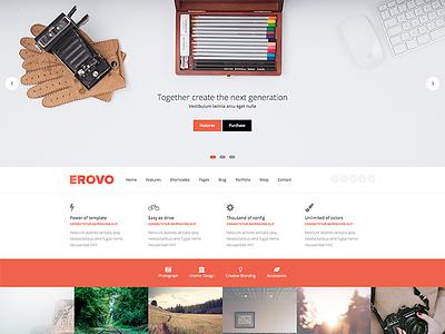 EROVO - Responsive Multipurpose WordPress Theme wordpress theme template corporate ecommerce shopping red modern multipurpose