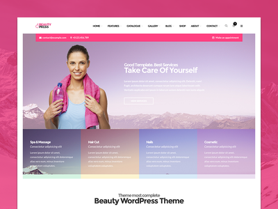 BeautyPress - WordPress Spa Beauty Theme skin massage salon hair beauty spa theme wordpress
