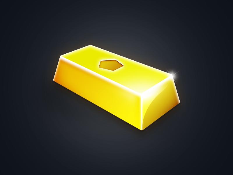 Gold Bar illustration concept vector perspective 2d design icon logo bar gold game photoshop
