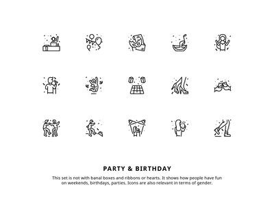 Party iconset sing dance man woman boy girl drink dj celebration birthday people funny cheerful character illustrtion iconset icons