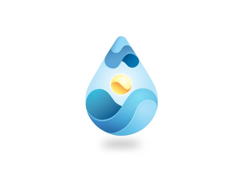 Drop + Wave Study art gradient drop water design case study illustration logo