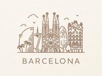 Barcelona spain city skyline minimal stroke line barcelona