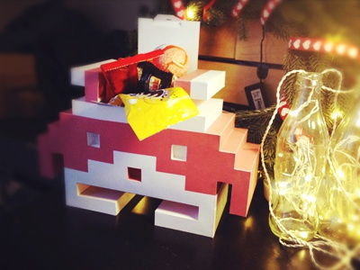 Santa Invader santa space invader new year christmas box gift