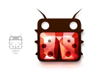 Ruby Ladybug logo ladybug box square logo adaptation icon ruby red insect bug gem