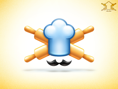 Pirozhok logo/icon pirozhok logo logotype cook rolling pin hat yellow icon