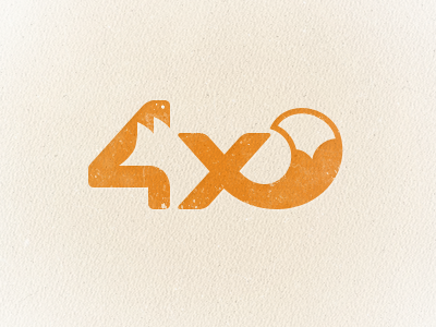 4x (fox) logo wip logo logotype negative space fox animal orange red tail 4 letter