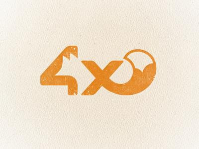4x (fox) logo wip logo logotype negative space fox animal orange red tail 4 letter