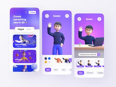 3D Character Building app concept 👨🔧 3d app 3d art 3d concept 3d character modeling 3d character design 3d character 3d cartoon 3d modeling 3d