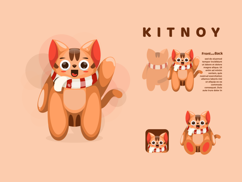 kitnoy mascot character animation illustrator icon typography vector logo branding ui design illustration