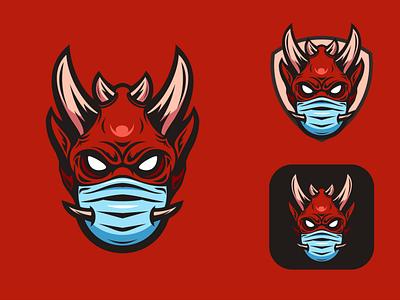 oni Mask logo vector mascot logodesigners illustrator characterdesign animation illustration character branding