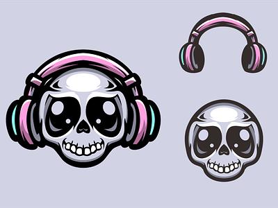 Music Skull apparel tshirt design logo logodesigners mascot vector characterdesign animation illustration branding character