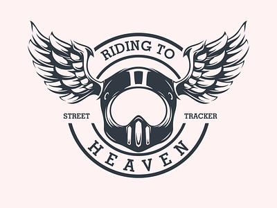 riding to heaven tracker harley davidson motorcycle mascot illustration illustrator logo logodesigners characterdesign character branding
