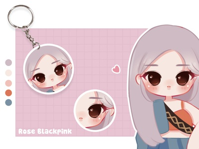 Rose Blackpink merchandise chibi design pentool character painting brushes painting illustration
