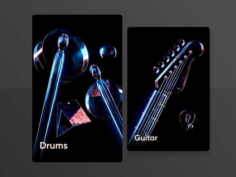 Quan - 3D Drums & Guitar mvp branding design app web 3d