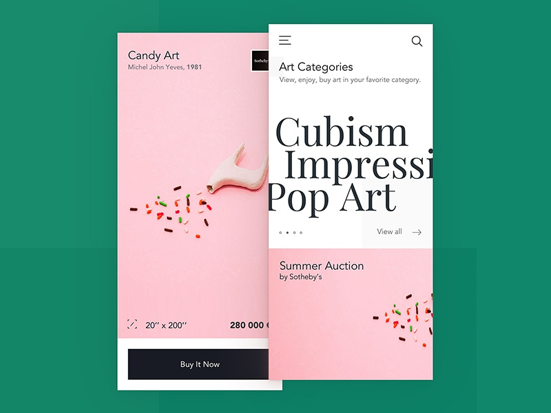 Artuous ux ui screen art shop detial iphone interface home app