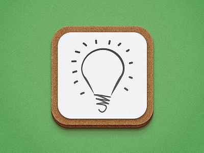 iOS Icon WIP icon cork board light bulb paper texture shadow grass noise ios
