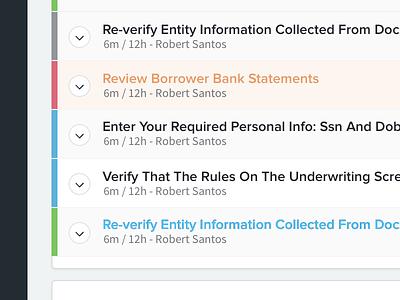 Loan Status Items chevron status tabs color dropdown list ui